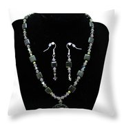 3576 Kambaba And Green Lace Jasper Necklace And Earrings Throw Pillow