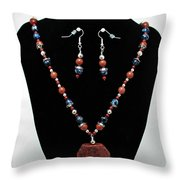 3578 Jasper And Agate Long Necklace And Earrings Set Throw Pillow
