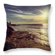 Sunset On La Jolla Beach, California, Usa  Throw Pillow