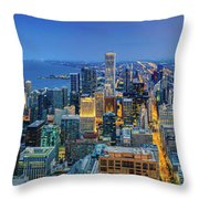 360chicago Rivers Begin To Glow - Skyline Panorama Throw Pillow
