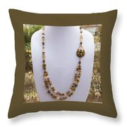 3615 Long Pearl Crystal And Citrine Necklace Featuring Vintage Brass Brooch  Throw Pillow