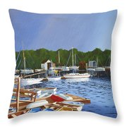 38 Boats Throw Pillow