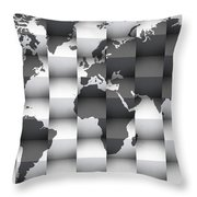 3d Black And White World Map Composition Throw Pillow