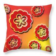 3d Digital Flowers Throw Pillow