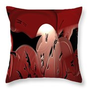 3d Red Abstract Throw Pillow
