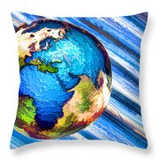 3d Render Of Planet Earth 10 Throw Pillow