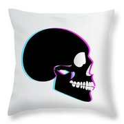 3d Skull Icon Background Side On Throw Pillow