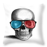 skull with 3D glasses Throw Pillow