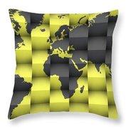 3d World Map Composition 4 Throw Pillow