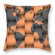 3d World Map Composition Throw Pillow