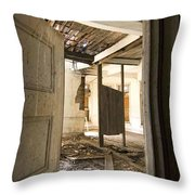 3rd Floor Door And Ruined Room Throw Pillow
