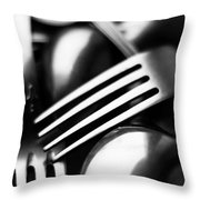 Abstract Black And White Forks Throw Pillow