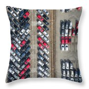 Aerial View Lot Of Vehicles On Parking For New Car. Throw Pillow