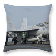 An Fa-18f Super Hornet On The Flight Throw Pillow