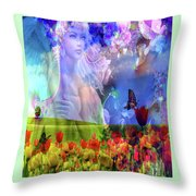 Angel In A Field Throw Pillow