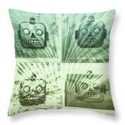 4 Angry Robots Throw Pillow