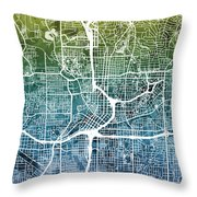 Atlanta Georgia City Map Throw Pillow by Michael Tompsett