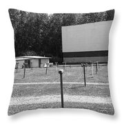 Auburn, Ny - Drive-in Theater Bw Throw Pillow