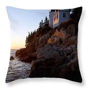 Bass Harbor Head Lighthouse Acadia National Park Throw Pillow