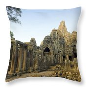 Bayon Temple Throw Pillow by MotHaiBaPhoto Prints