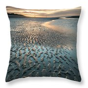 Beautiful Beach Coastal Low Tide Landscape Image At Sunrise With Throw Pillow