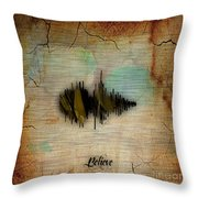 Believe Recorded Soundwave Collection Throw Pillow