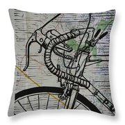 Bike 2 On Map Throw Pillow by William Cauthern