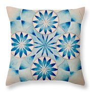 4 Blue Flowers Mandala Throw Pillow