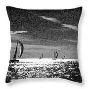 4 Boats On The Horizon Bw Throw Pillow