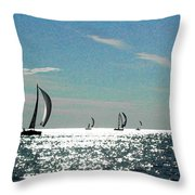 4 Boats On The Horizon Throw Pillow