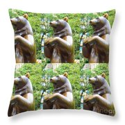 Bronze Statue Sculpture Of Bear Clapping Fineart Photography From Newyork Museum Usa Fineartamerica Throw Pillow