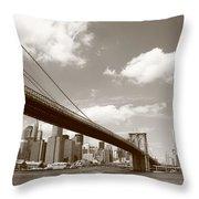 Brooklyn Bridge - New York City Skyline Throw Pillow