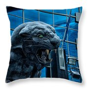 Carolina Panthers Statue Covered In Snow Throw Pillow