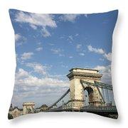 Chain Bridge On Danube River Budapest Throw Pillow