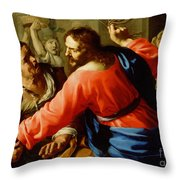 Christ Cleansing The Temple Throw Pillow