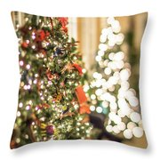 Christmas Tree And Decorations With Shallow Depth Of Field Throw Pillow