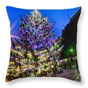 Christmas Tree Near Panther Stadium In Charlotte North Carolina Throw Pillow