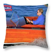 Classic Gar Wood Runabout Throw Pillow