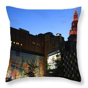 Terminal Tower And Sherwin Williams Building In Cleveland, Ohio, Usa Throw Pillow