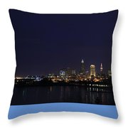 Cleveland Skyline On The Frozen Lake Erie Shore Throw Pillow