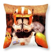 Clone Trooper Commander - Wax Style Throw Pillow