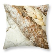 Close Up Bread And Wheat Cereal Crops Throw Pillow by Deyan Georgiev