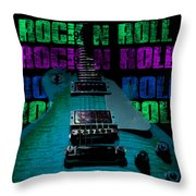 Colorful Music Rock N Roll Guitar Retro Distressed  Throw Pillow