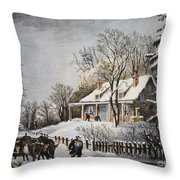 Currier & Ives: Winter Scene Throw Pillow