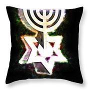 David's Menorah Jerusalem Throw Pillow