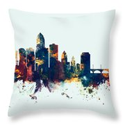 Des Moines Iowa Skyline Throw Pillow