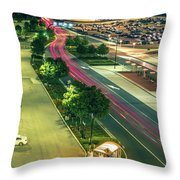 Early Morning Scenes At San Jose California International Airpor Throw Pillow