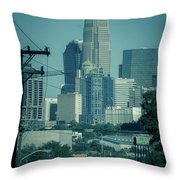 Early Morning Sunrise Over Charlotte North Carolina Skyscrapers Throw Pillow