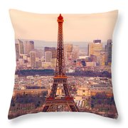 Eiffel Tower At Sunrise - Paris Throw Pillow