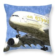 Etihad Airlines Airbus A380 Art Throw Pillow